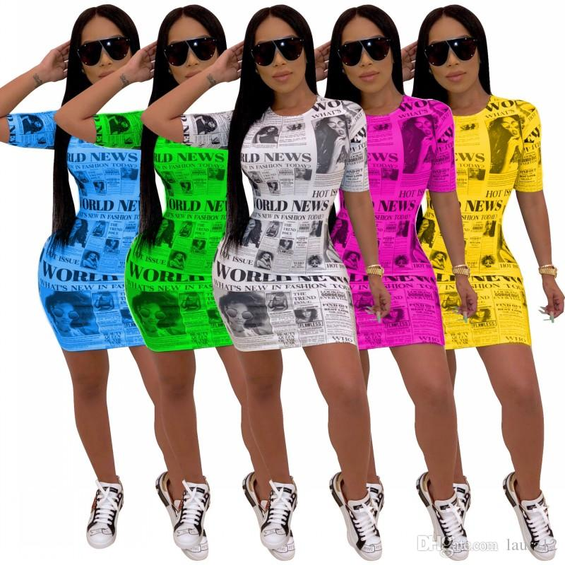 Latest Sexy Newspaper Printing Nightclub Bodycon Dress 5 Colors in Stock Short Sleeves O Neck Summer Fashion Lady Casual Dresses