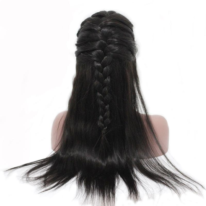 Straight Glueless Full Lace Human Hair Wigs For Women 250% Brazilian Lace Wig Pre Plucked With Baby Hair Black Braid Remy
