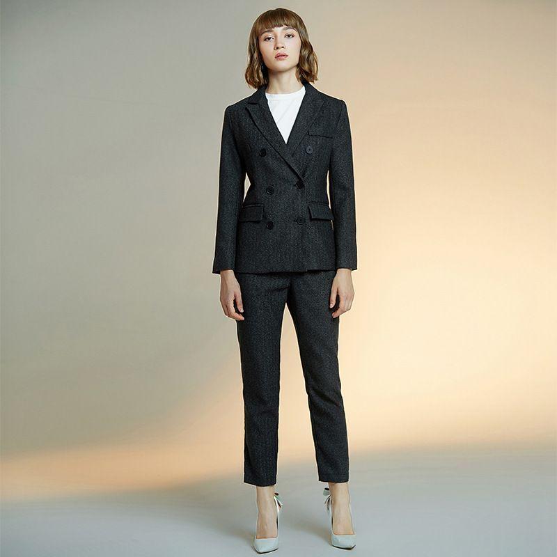 2 pièces pour costume féminin costume rayé noir femme mince veste à double boutonnage avec les entreprises pantalon décontracté formel
