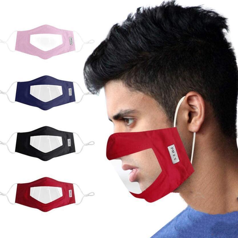 Maschera Visibile Bocca Volto copertura antipolvere lavabili riutilizzabili viso con Clear finestra in PVC adulti sordi con problemi di udito persone Elasticità earloop