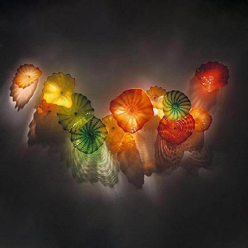 Murano Glass Wall Mount Light Fixtures Blown Glass Flower Wall Lamps Art Decorative Blown Glass Wall Art Custom Made Plates Free Shipping.