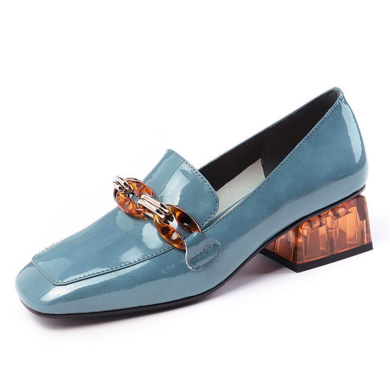 Moda mujer bombas Primavera Verano cadena tacones altos zapatos de fiesta mujer cuero genuino mujer marca baile zapatos mocasines