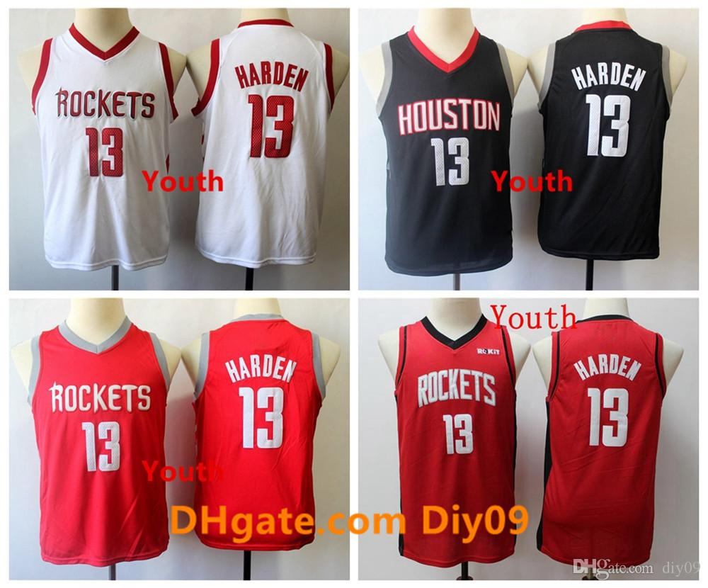 Niños 13 James Harden retrocesoHoustonRed de Jóvenes jerseys del baloncesto Rockets Jersey Majestic James Harden Stitiched Blanco Negro