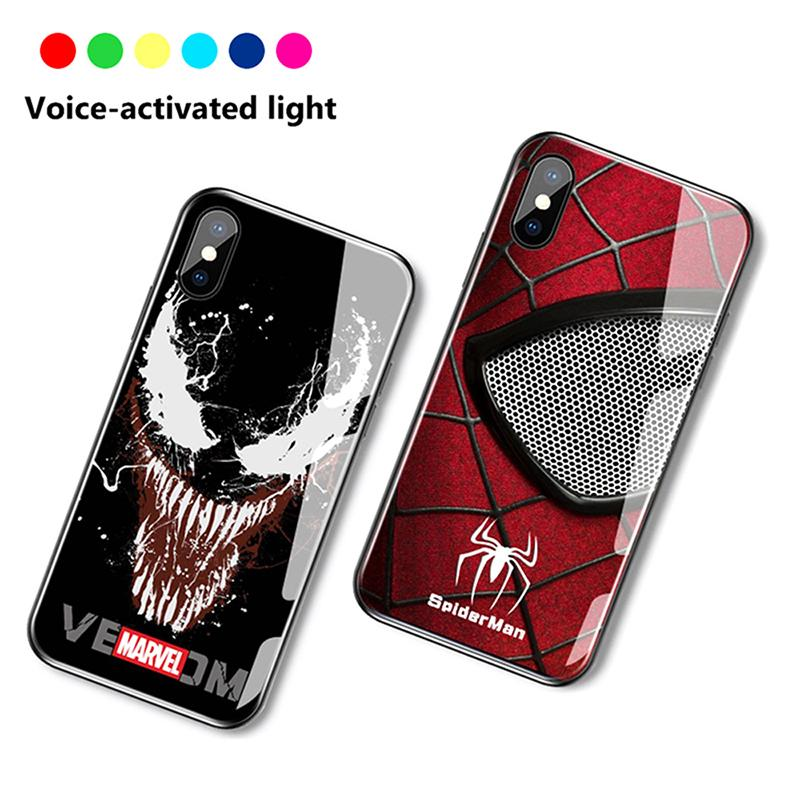 Reminder Incoming Call Iight Up Case For Iphone 11 PRO X Xs Max Xr 6 6s 7 8 Plus Voice Activated LED Flash Luminous Glass Cover
