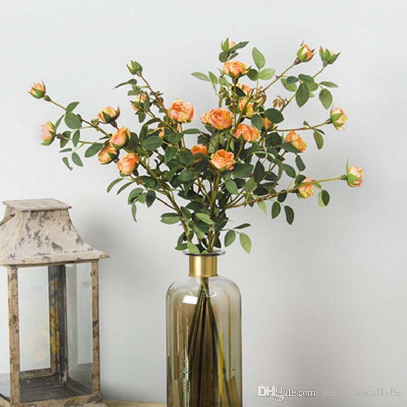 Home Decoration Mini Tea Rose Artificial Flowers Wedding Decorative Flower Bouquet Fake Tea Rose 6 Heads/bouqet