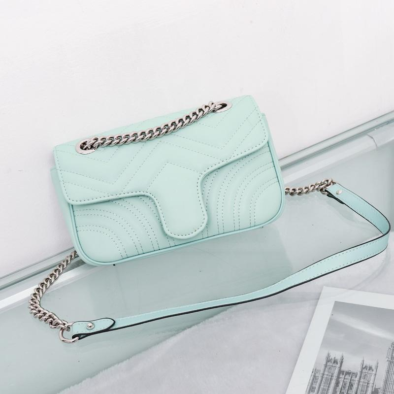 Top Quality 6 colors Women Shoulder bag silver chain bag Crossbody Pure color handbag crossbody Messenger tote bag purse wallet