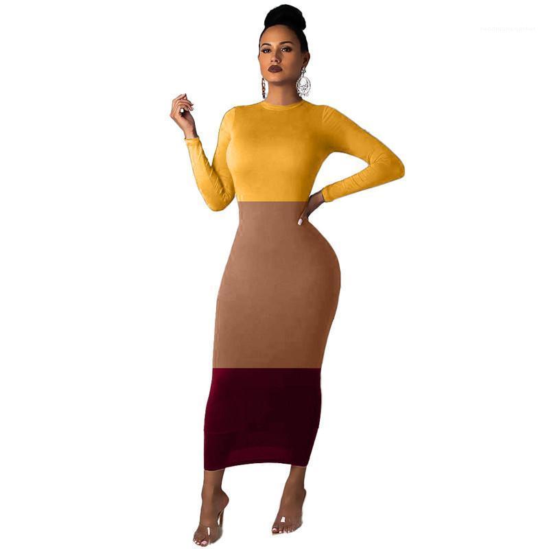 Herbst-beiläufige dünne lange Sleeved Rundhalsausschnitt bodycon Kleider der Frauen-Modedesigner Kleider Frauen Kleider Drei-Farben-Stitching