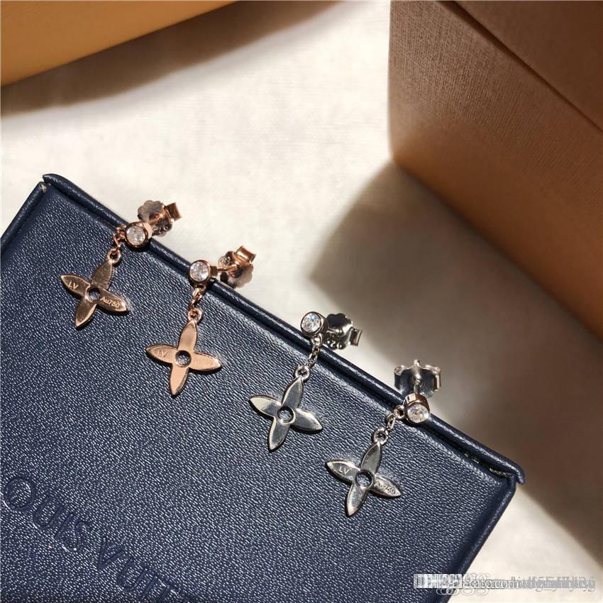 L de luxe trèfle à quatre feuilles diamant célèbre monogramme marque orecchini fashional boucle d'oreille stud bijoux design resille cadeau Earings