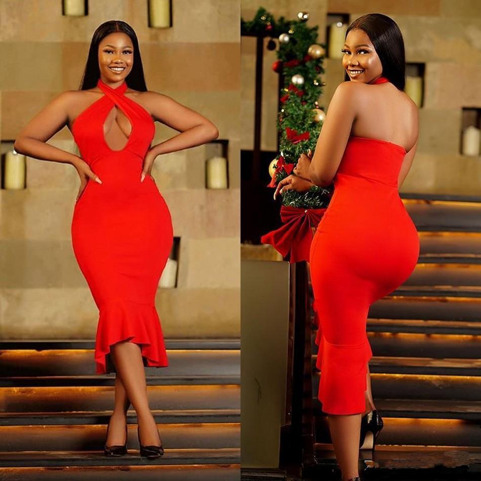 2020 vestidos de cóctel rojo de África del cuello del halter ahueca hacia fuera la longitud de té corto vestido de fiesta barato sirena vestido de dama