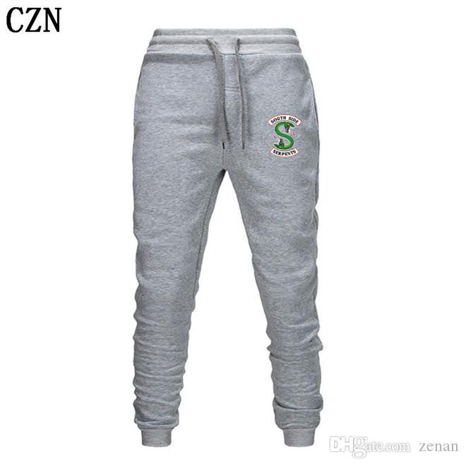 Riverdale primavera y otoño pantalones deportivos nuevos hombres y mujeres de moda los pantalones ocasionales de los hombres pantalones elástico del pantalón casual EL-3