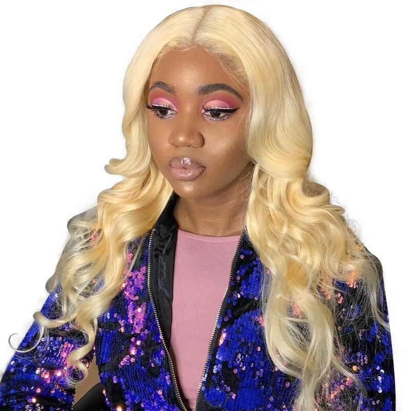 Blonde Echthaar Full Lace Perücke Pre Gezupft Körperwelle 613 Lace Front Blonde Perücken Reines Haar Für Frauen Mit Baby Haare