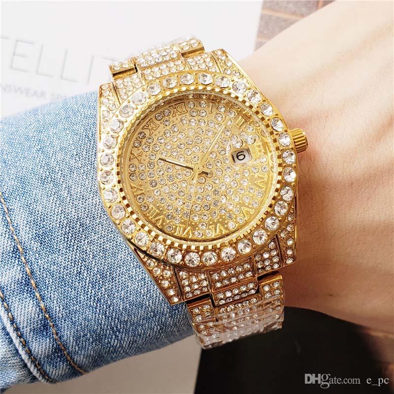 أزياء 40MM فقط فضة / الذهب / أسود / وردة حالة الماس كامل الذهب للرجال السيدات الحافة تاريخ كوارتز ساعة