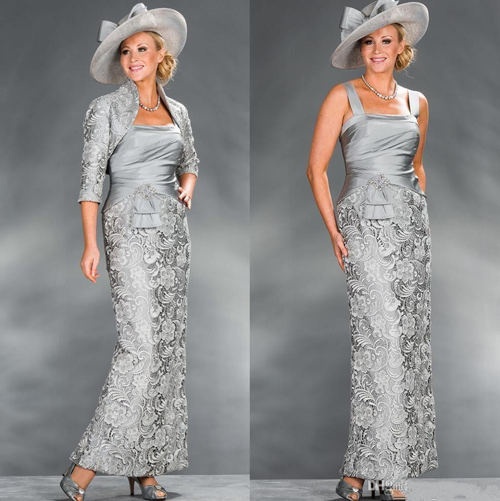 2019 элегантный кружева лодыжки длина мать невесты Платья с 3/4 длинными рукавами куртки свадебные платья партии