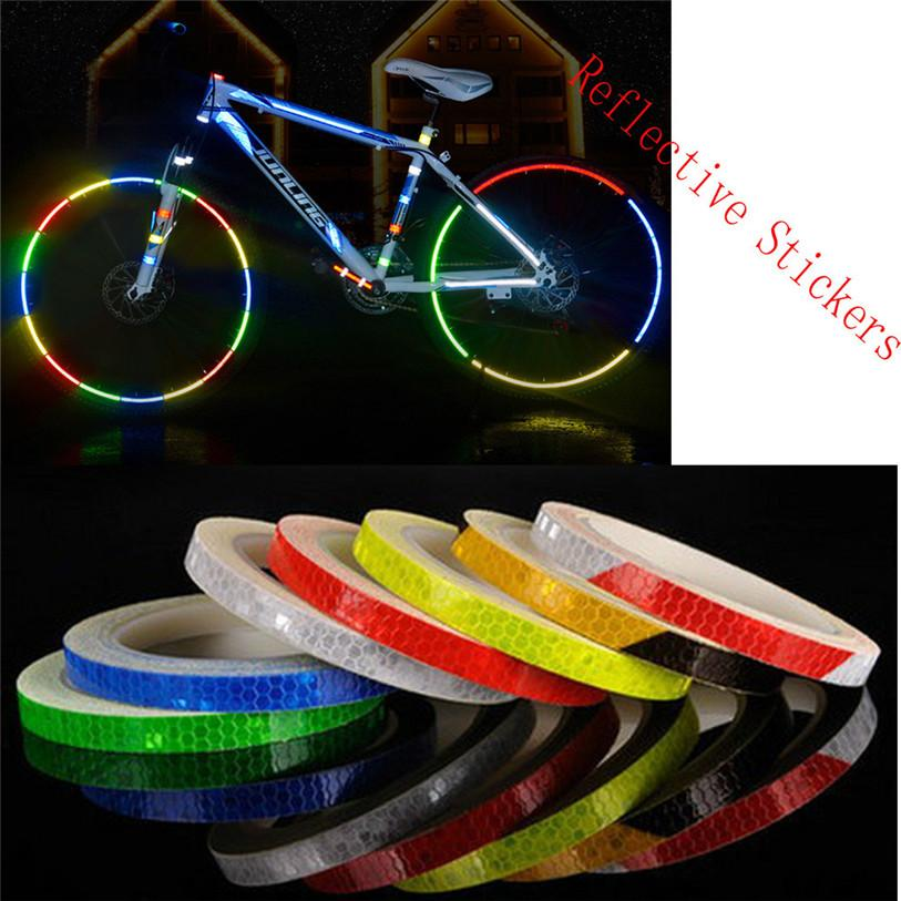 Pegatinas reflectantes Motocicleta Bicicleta Reflector Rueda de seguridad Llanta Calcomanía Cinta Deportes Bicicleta Bicicleta Accesorios de luz WS40