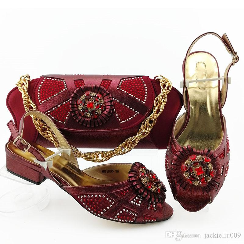 Beautiful wine women shoes match handbag with rhinestone style African shoes and bag set MM1095,heel 3.6CM