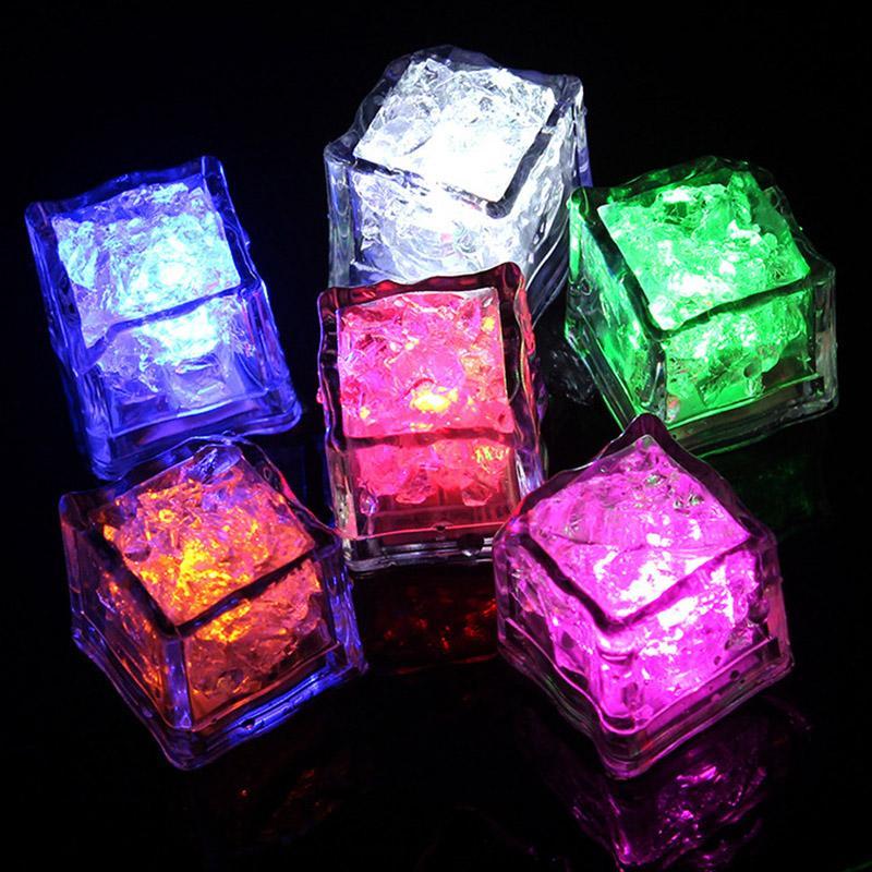 LED 빛나는 라이트 업 얼음 조각이 점멸 색상 스위치 웨딩 파티 할로윈 장식없이 컵 조명 교체 천천히