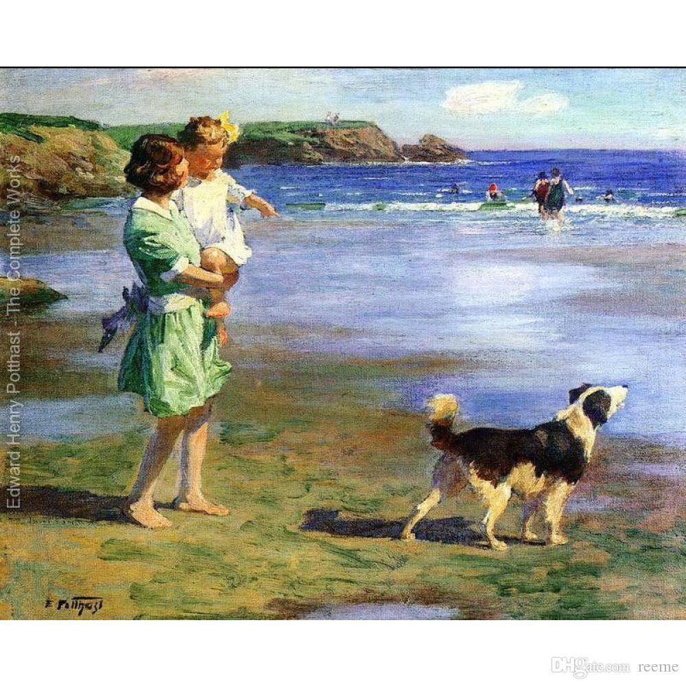 Bela pintura a óleo da praia Paisagens por Edward Henry Potthast Prazeres do verão arte sobre tela Pintado à mão