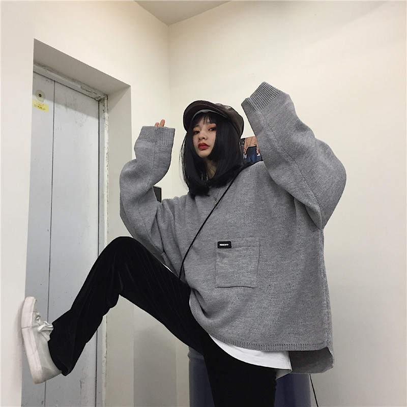 Fashion-Pocket Design Sweater Coat Long Sleeve Knitted Pullover 2019 New Women Men Clothes Korean Oversized Jumper Tops 37773
