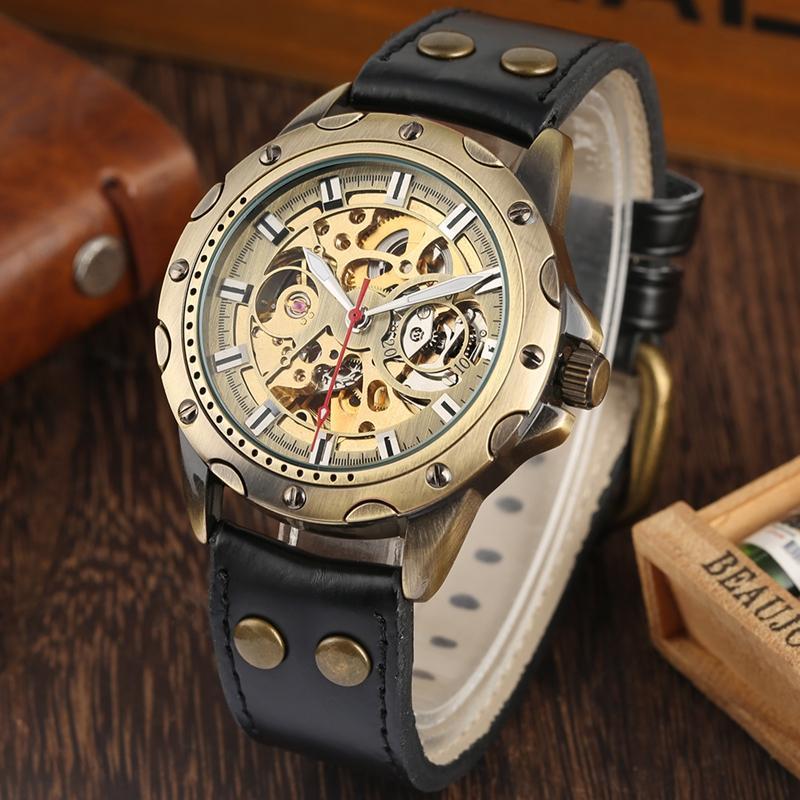Ouro Skeleton Luminous Função relógios de alta qualidade relógio de pulso de couro para Watch Men Retro Bronze mecânico automático para Male