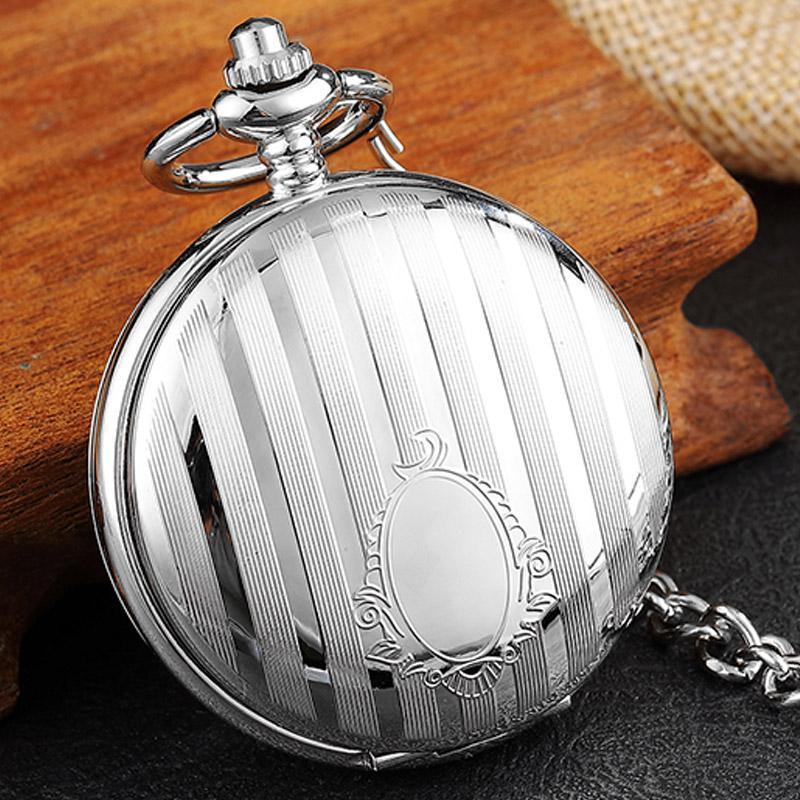 Luxury Silver Stripe Carved Double Side Mechanical Pocket Watch Vintage Skeleton Hand Wind Fob Watch Men Women Steampunk Chain
