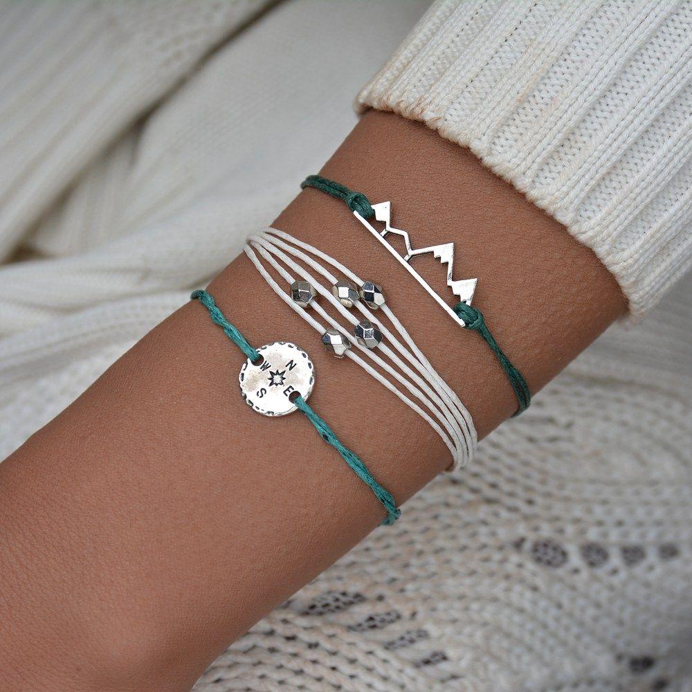 Bohemia Mountain Rope плетеный браслет для женщин, Handmade ткать компас ювелирных изделий BB89 Браслеты Pulseras Mujer кисточкой