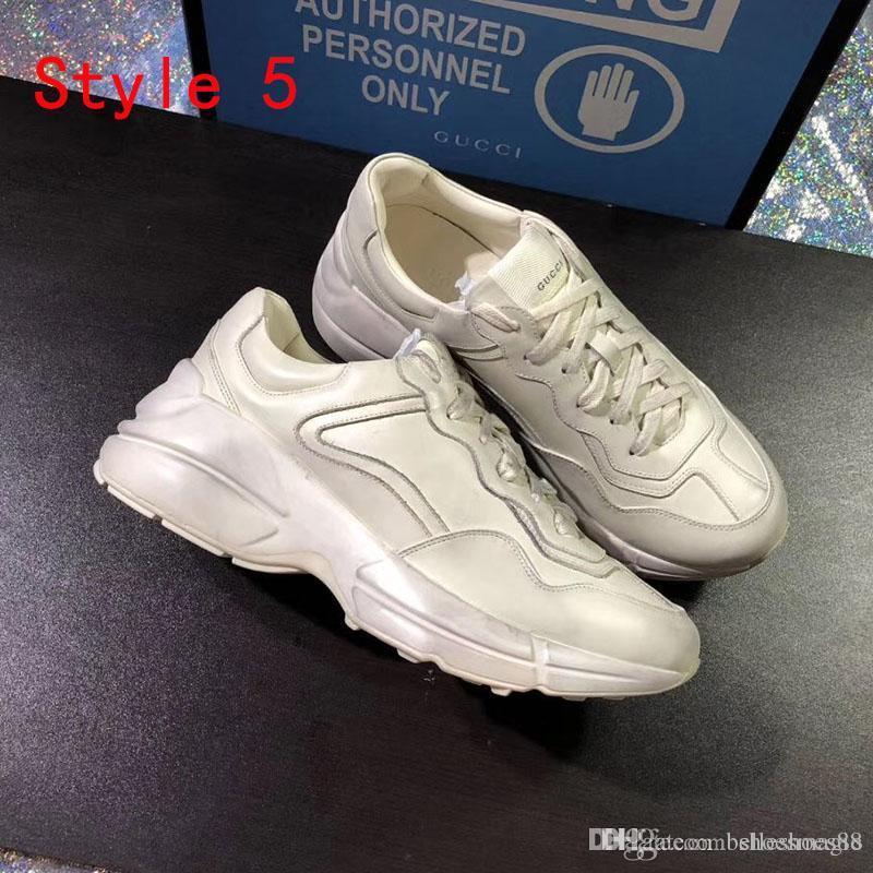 Çilek Dalga Ağız Kaplan Web Baskısı oğlan Lüks Günlük Ayakkabılar Moda Vintage Kadın moda baba Sneaker Yeni Rhyton Deri Spor ayakkabılar