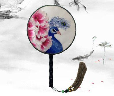Fine Ebony Handles Chinese Round Fan Dance Costume Decorative Craft Fan Hand Double-side Suzhou Embroidery Mulberry Silk Hand Fan Gift