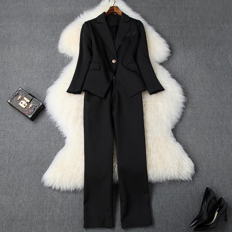 2020 Осень Зима Черный Длинные рукава Зубчатый-отворотом однокнопочных Пиджаки + Минималистский Plain длинные штаны из двух частей 2 шт Набор N11T10441