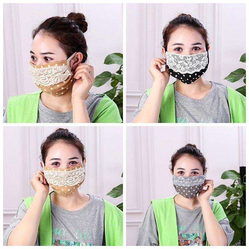 Brouillard Prévention respirante respirateurs Earloop Dentelle Bouche Masque Hommes Femmes Masques Visage Utilisé quotidiennement Mascherine Lavable 1 8AS H1