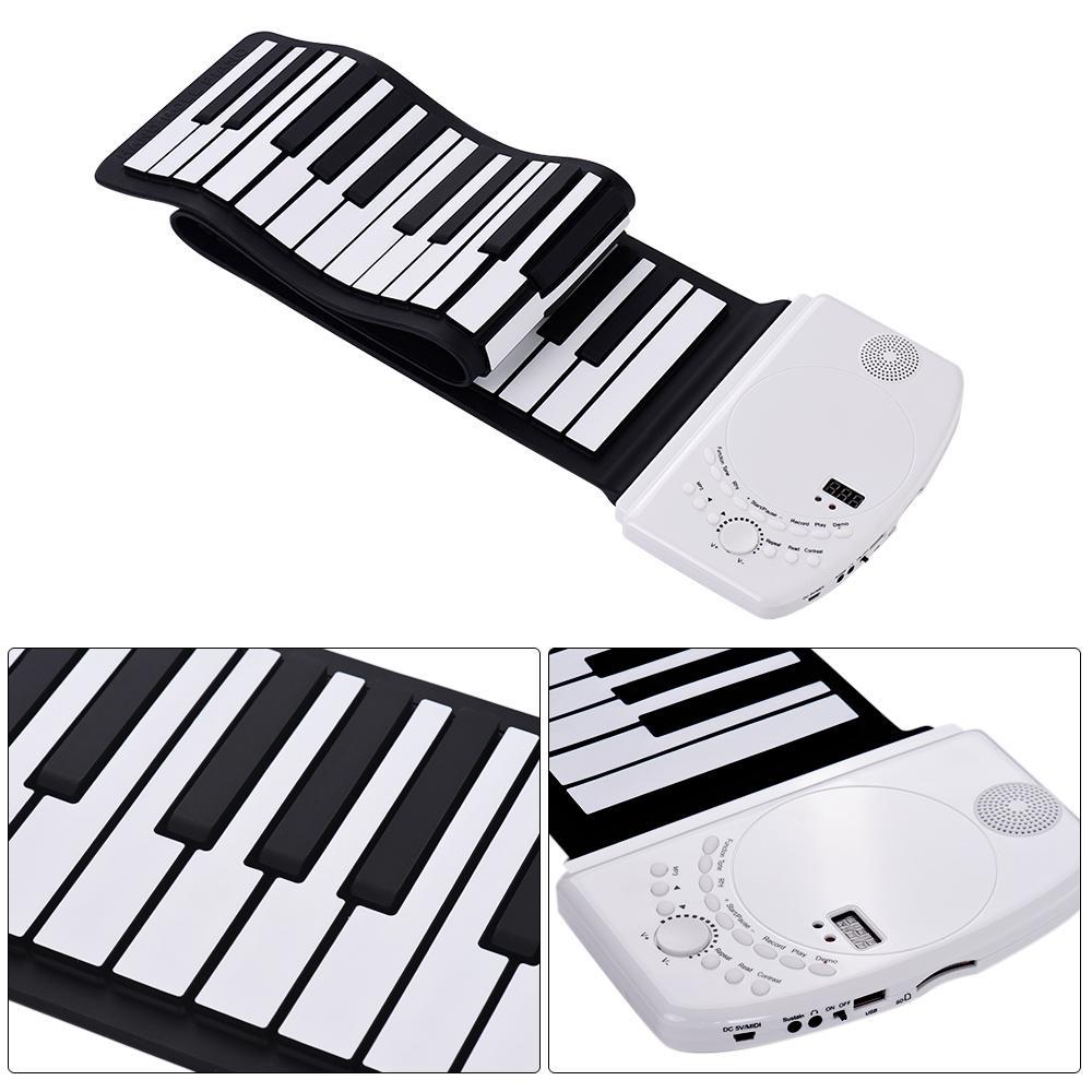 Hot nuovo portatile 88 tasti Roll Up Piano flessibile morbido silicone elettronico della tastiera di piano Built-in altoparlante forte di ricarica della batteria
