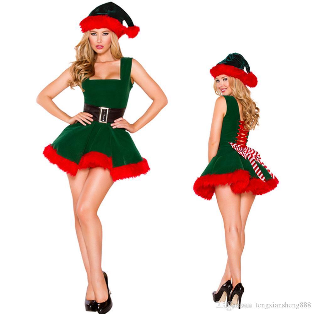 Womens Girls Elf Costume Christmas Fancy Dress Xmas Santa Helper Outfits