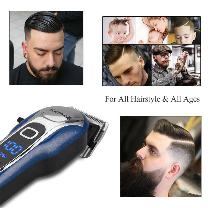 2020 Hot Kemei KM-1995 Professional Hair Clipper Männer Akku-Haartrimmer Edelstahl Messerklinge LCD Display Haarschneidemaschine
