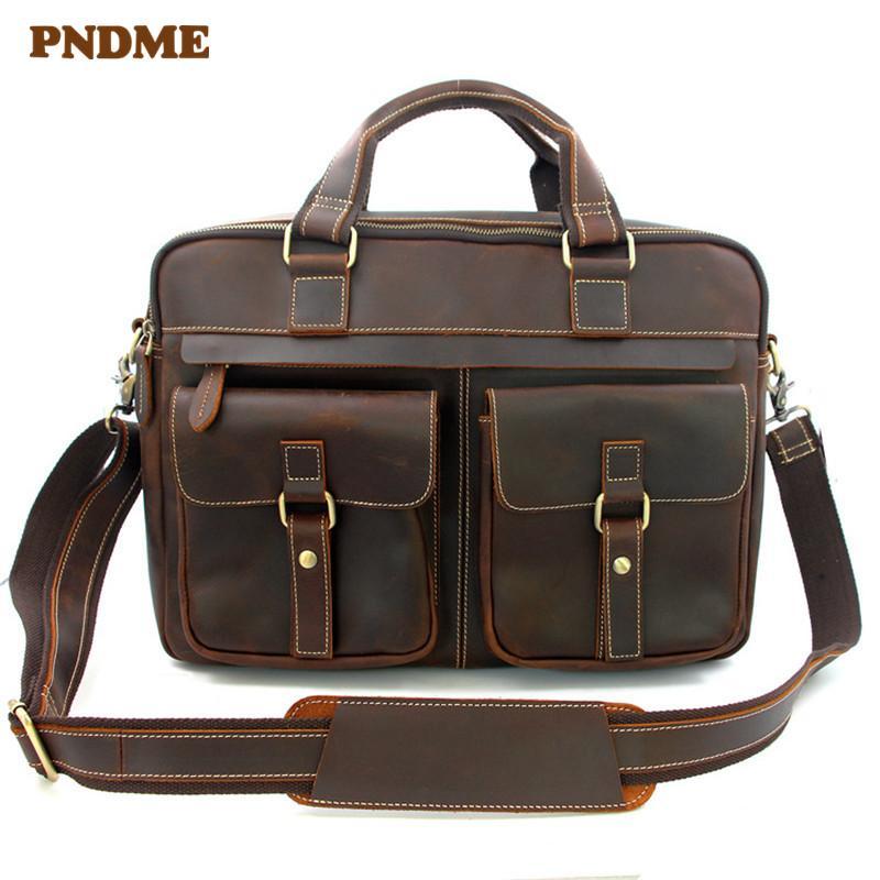 Messenger Business Простое качество Мужской портфель Высокая кожаная кожаная кожи Подлинные сумки на плечо работают ноутбук pndme большой rwmtn