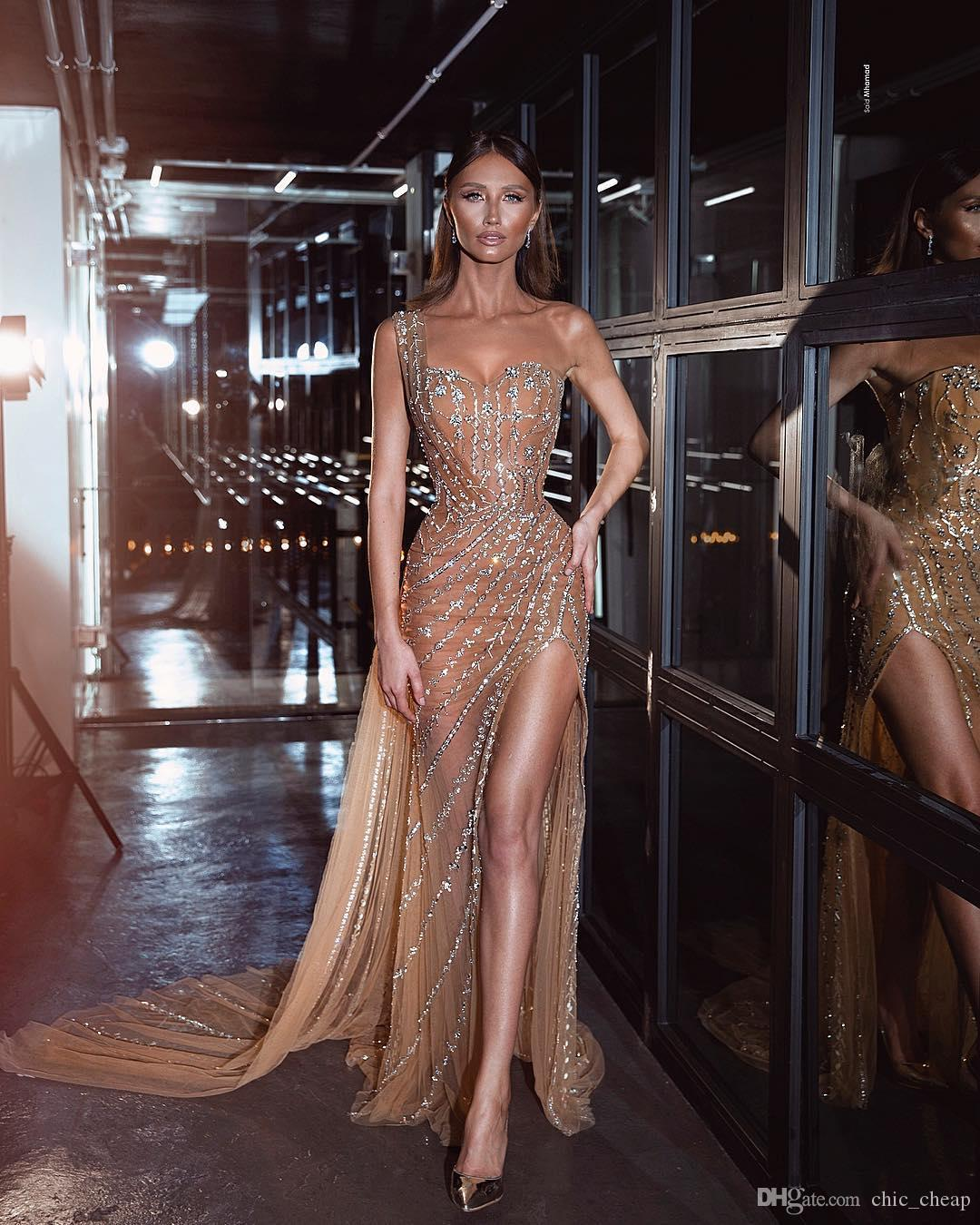 Champanhe sparkly sexy 2019 vestidos de noite um ombro frisado lantejoulas bainha vestidos de bainha tule festa formal concurso