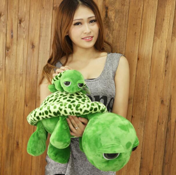 18cm Kawaii Super Green Big Eyes Stuffed Tortoise Turtle Animal Plush Soft Anime Baby Toy Gift