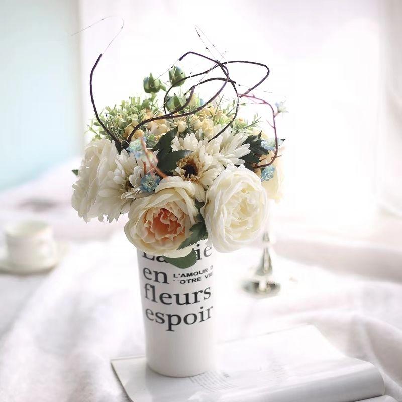 웨딩 홈 장식 신부 부케 / 웨딩 꽃 인공 꽃 리얼 터치 실크 꽃 핑크와 샴페인 수국 꽃다발