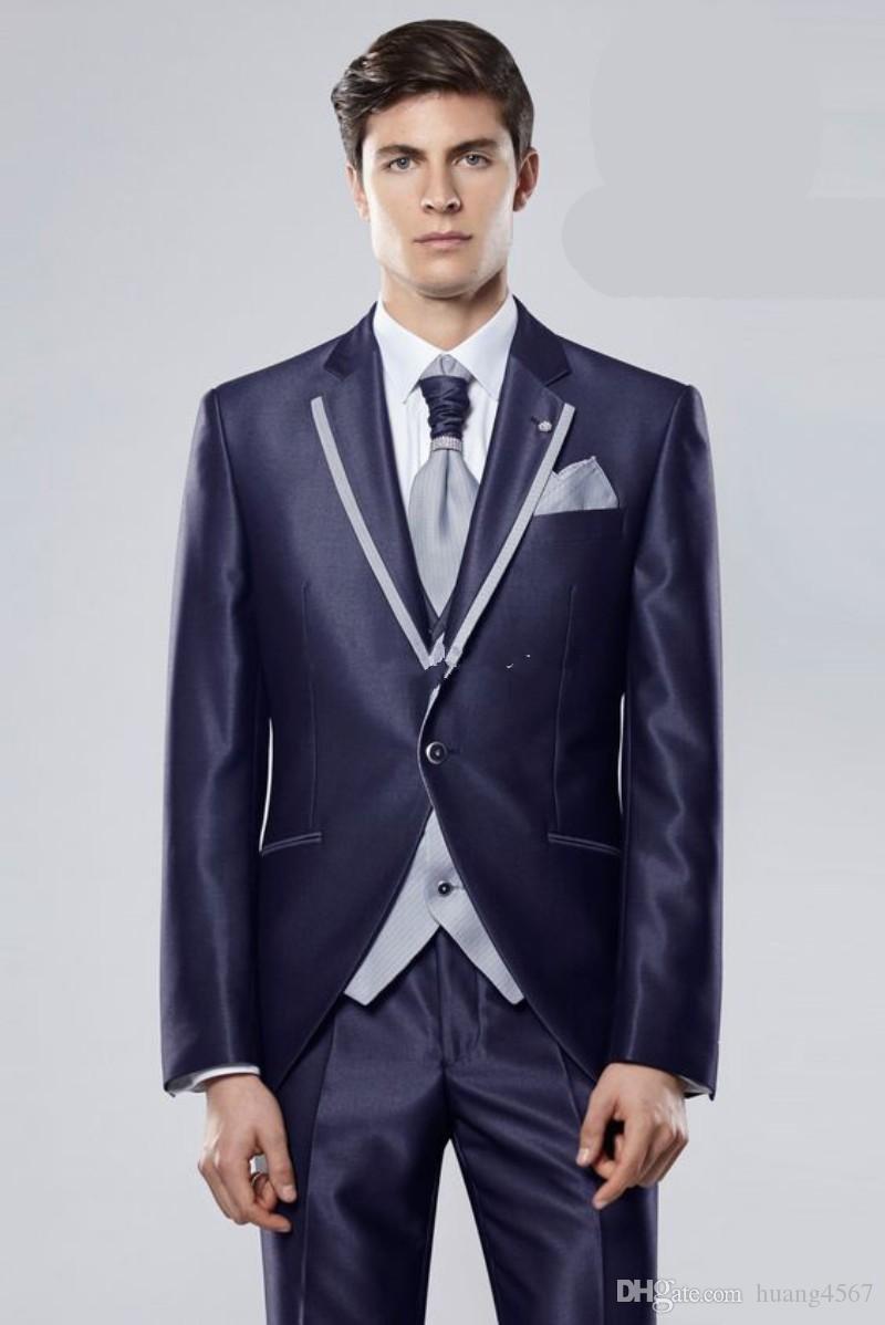 새로운 슬림 피트 버튼 하나 빛나는 네이비 블루 웨딩 신랑 턱시도 피크 옷깃 Groomsmen 남성 복장 댄스 파티 재킷 (자켓 + 바지 + 조끼 + 넥타이) 167