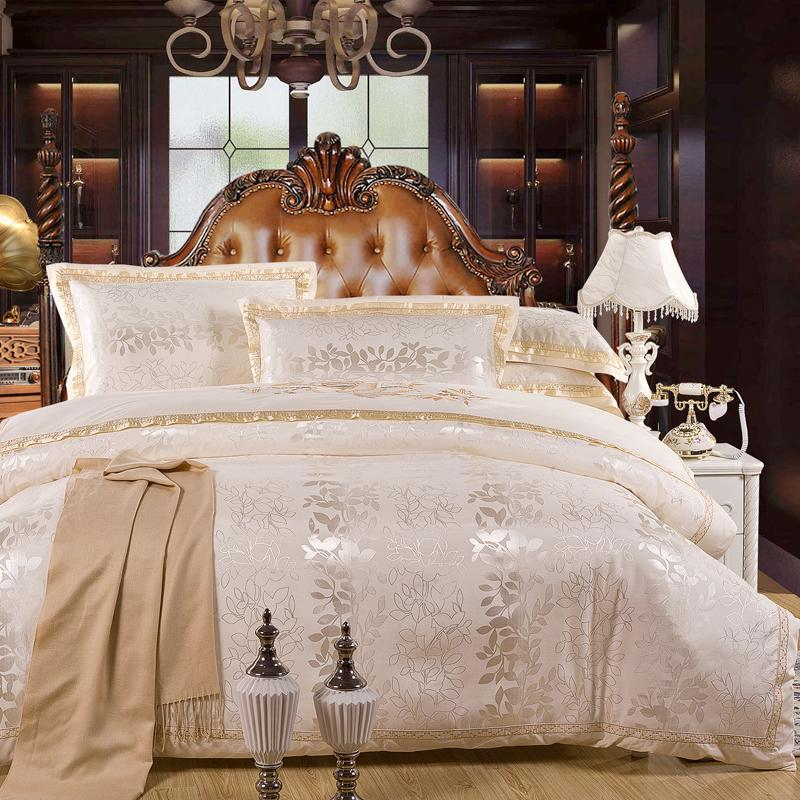 4Pcs Luxury Satin Jacquard bedding sets Embroidery bed set double queen king size duvet cover bed sheet set pillowcase T200415