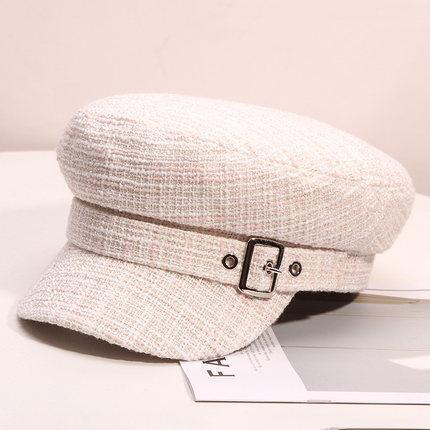 أزياء المرأة منقوش كاب الخريف القبعات قبعة الشتاء المرأة خمر شقة أعلى القبعات البريطانية على غرار
