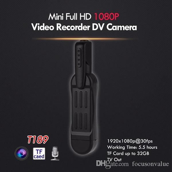 pleno de la cámara HD Mini DV Cuerpo de bolsillo con el clip de mini cámara de la pluma grabadora de video Policía Cámara cámara de vídeo de salida de TV dropshipping T189 negro