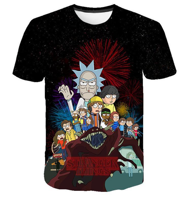 Los nuevos hombres / mujeres de la cadera casual Hop camisetas Rick y Morty divertido 3D Camiseta estampada de verano remata tes Plus DX00323