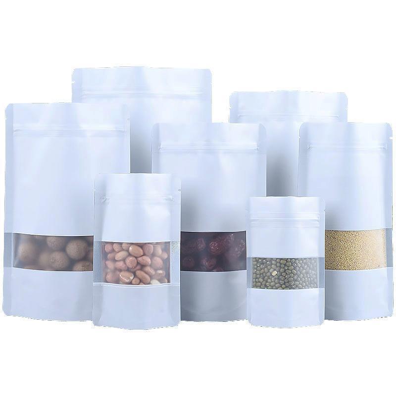 9 Boyut Beyaz Çanta LX2688 Packaging yeniden kapanabilir Gıda Depolama fermuar açık pencere plastik torba ile alüminyum folyo torbası Ayağa kalk