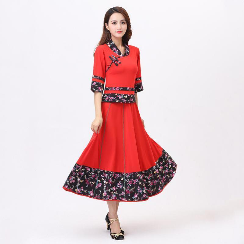Großhandels-Damen Latein Tanznagelneues heißen Verkaufs-Dame-Fashion Square-Tanz-Kleid große Rock-Set Erwachsene Leistung Kostüm