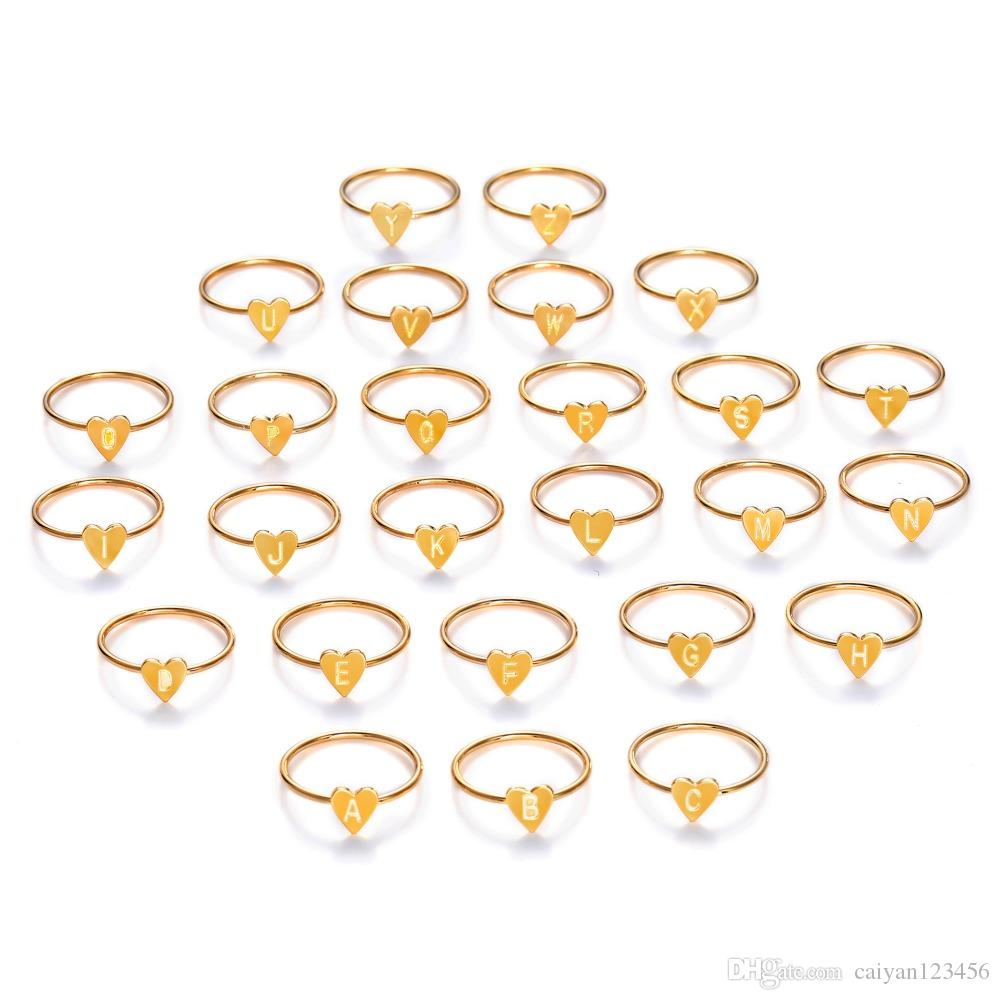 Fashion Gold Silver Color Heart Letters Rings For Women DIY Name Ring Set Female Statement Engagement Party Jewelry Size:8#