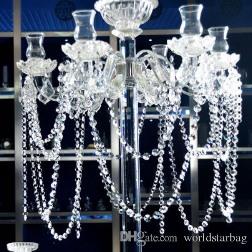 180CM Length Clear Glass Chandelier Crystal 14mm Octagon Beads Chain Chandelier Prisms Hanging Wedding Garland Free Shipping