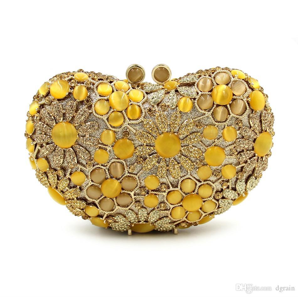 Dgrian Natural Shell Frauen Luxus Kristall Abendtaschen Braut Gelb Hochzeit Handtasche Party Schminktäschchen Handtasche Geldbörse Dinner Box geldbörsen