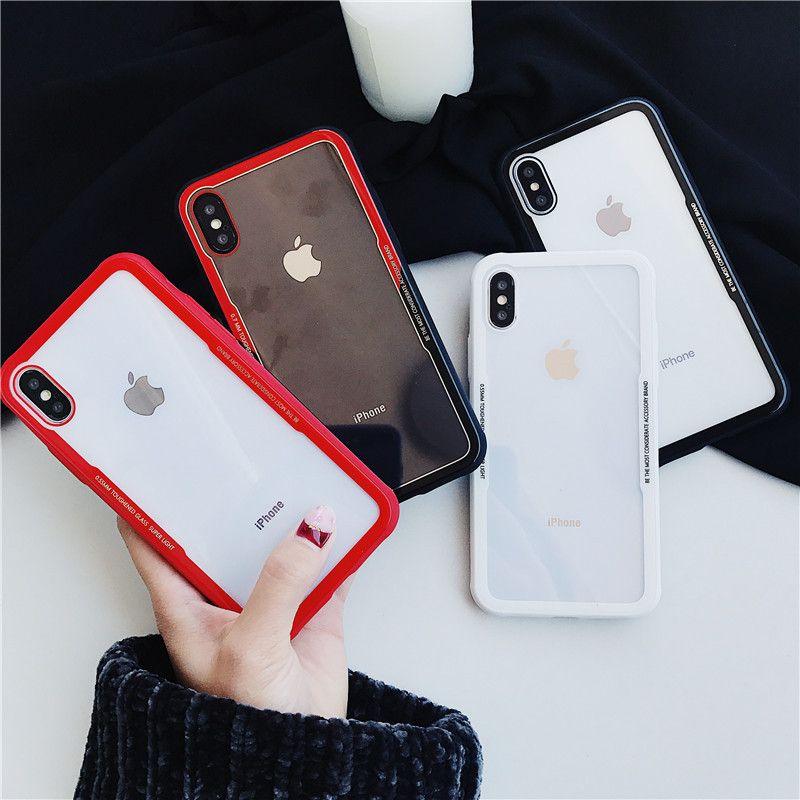 품질 럭셔리 9H 강화 유리 투명 슬림 충격 방지 부드러운 실리콘 엣지 전화 케이스 커버 아이폰 (11) 프로 X XR XS 최대 8 7 6S 플러스