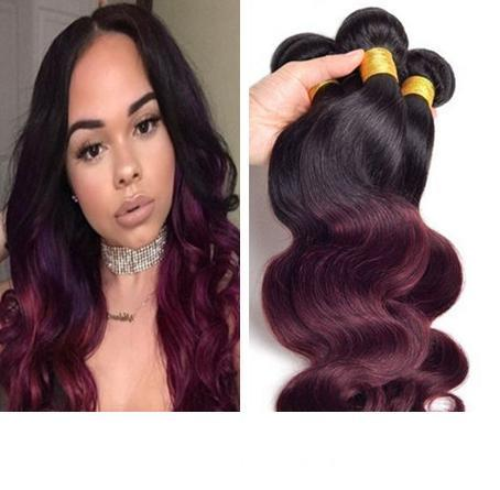 Brazilian Burgundy Ombre Hair Weave Body Wave Two Tone Ombre 1B 99J Wine Red Ombre Human Hair Bundles
