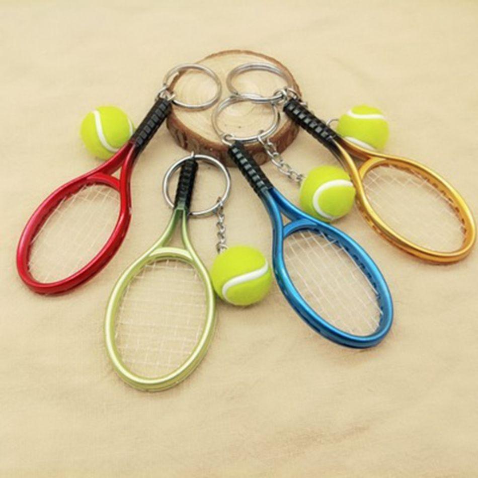 Raqueta de tenis llavero deporte simulación creativa mini pelota de tenis llavero bolsa de coche colgante llavero accesorios para mujeres hombres ljjj21
