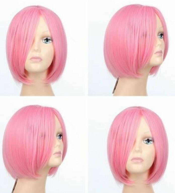Haruno Sakura Anime Cosplay Pink Short Hair wig+Headwear+Free wig Cap